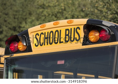 Close up of a school bus - stock photo