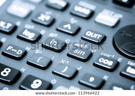 close up of a scientific calculator buttons
