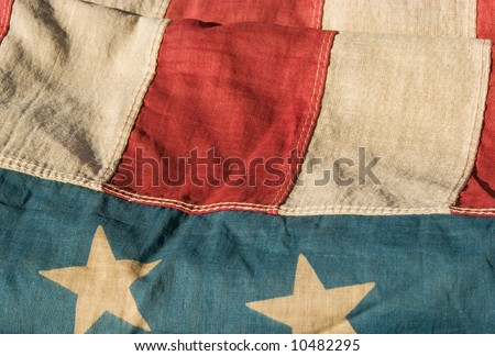 close up of a section of an antique american flag - stock photo
