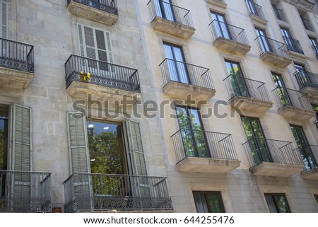 Close up of a set of balconies of a building