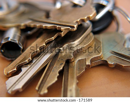 close up of a set of keys - stock photo