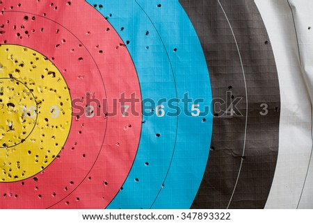 Close up of a shooting target and bullseye with holes, drilled background - stock photo