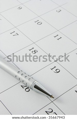 close up of a simple calendar page with an appointment
