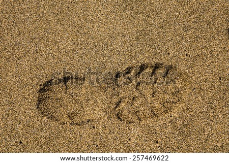 Close up of a single boot or shoe print of a right foot with grip set deeply into sand - stock photo