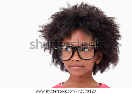 Close up of a smart girl against a white background