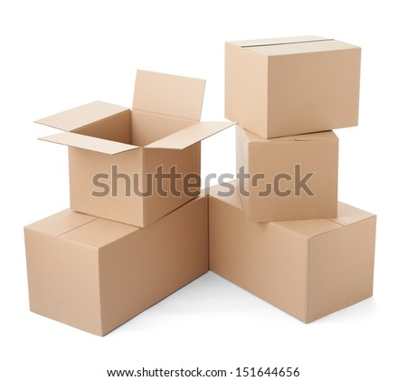 close up of a stack of cardboard boxes on white background