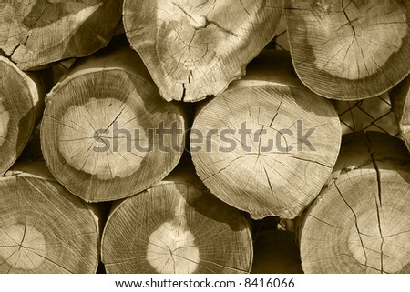 Close up of a stack of cut wood. - stock photo