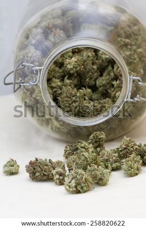 close up of a stash of medicinal marijuana for a concept - stock photo