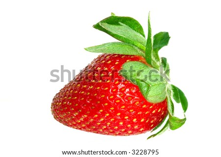 Close up of a strawberry. Isolated over white - stock photo