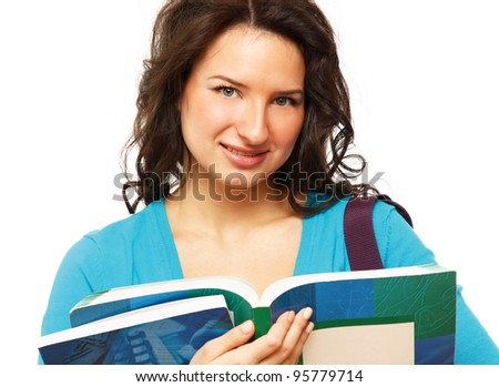 Close-up of a student with books, isolated on white background