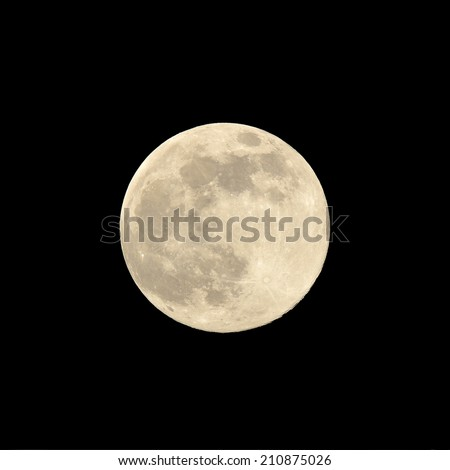 Close up of a super moon in August  2014 against a black background - stock photo
