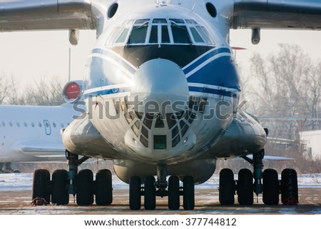 Close up of a taxiing cargo airliner - stock photo