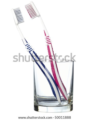 close up of a toothbrushes on white background with clipping path