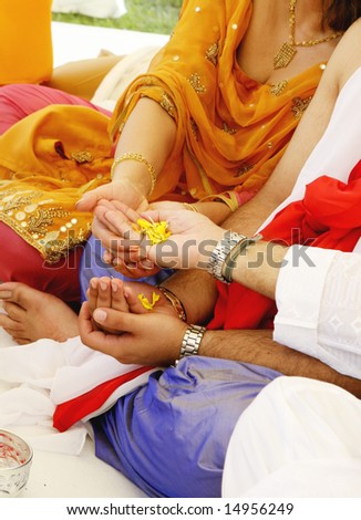 Close-up of a traditional Indian wedding ceremony. - stock photo