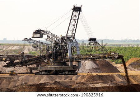 Close-up of a very large backloader in a lignite (browncoal) mine