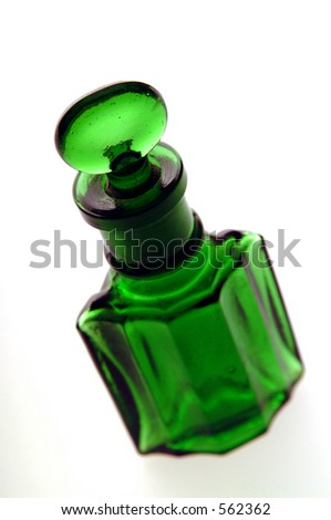 Close up of a Victorian green bottle.