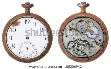 Close-up of a vintage rusty clock from both sides, isolated - stock photo