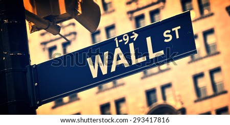 Close up of a Wall street direction sign, New York City, vintage process - stock photo