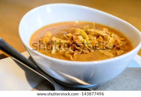 close up of a warm bowl of spicy tortilla soup - stock photo