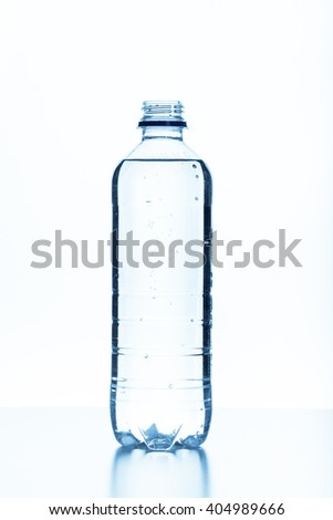 close up of a water bottle on white background - stock photo