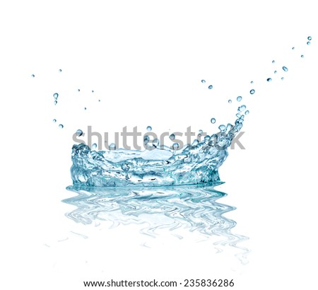 close up of  a water splash on white background