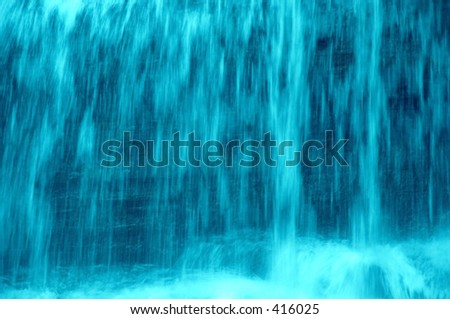 Close-up of a waterfall. Given a blue tone for effect. Makes a nice background.