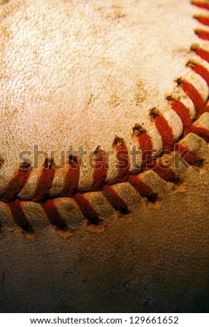 Close up of a weathered baseball - stock photo