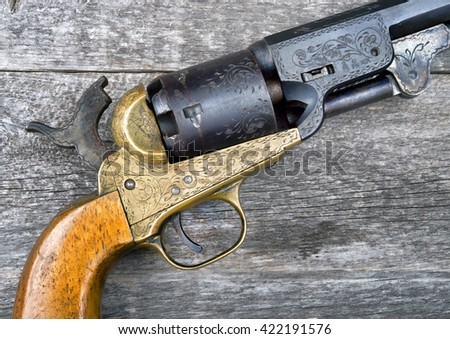 Close up of a western six shooter pistol. - stock photo
