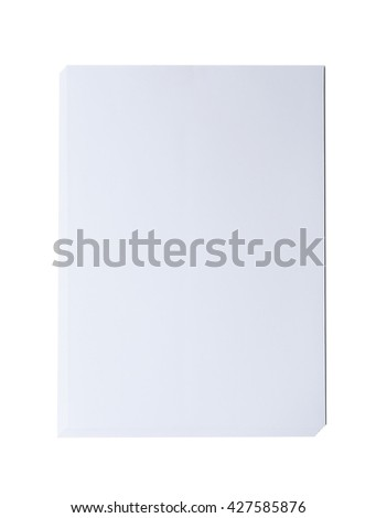 Close up of a white  blank  papers size A4  on white  background, layer of papers top view - stock photo