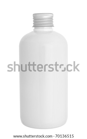 close up of a white bottle on white background with clipping path - stock photo