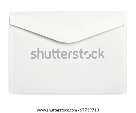 close up of a white empty envelope on white background with clipping path - stock photo