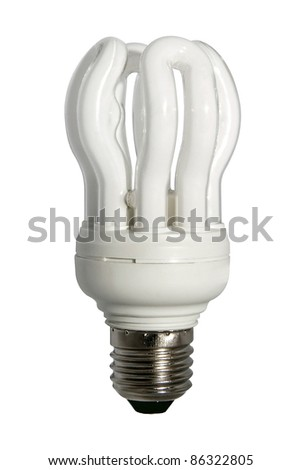 close up of a white light bulb on white background with clipping path - stock photo