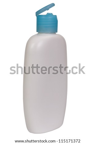 Close-up of a white moisturizer bottle