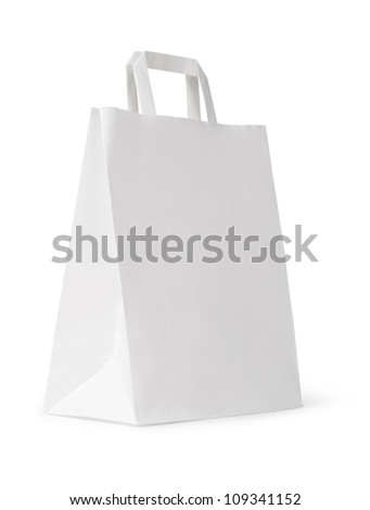 close up of a white paper bag on white background - stock photo