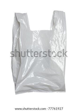 close up of a white plastic bag on white background with clipping path - stock photo