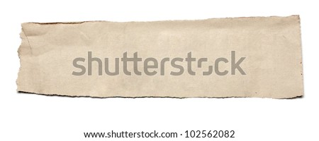 close up of  a white ripped piece of news paper on on white background with clipping path - stock photo