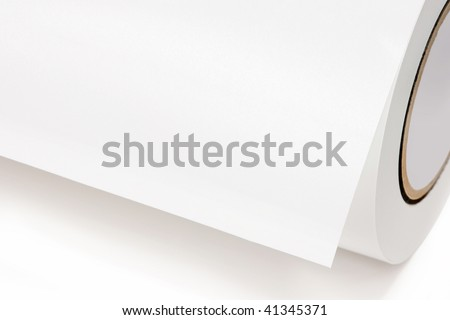 Close-up of a white role of printing paper, isolated on white background