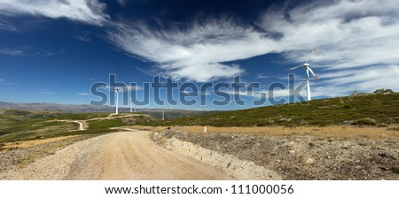 close up of a windmill electric energy production - stock photo