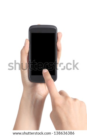 Close up of a woman hands holding and touching a blank mobile phone screen with her finger isolated on a white background - stock photo