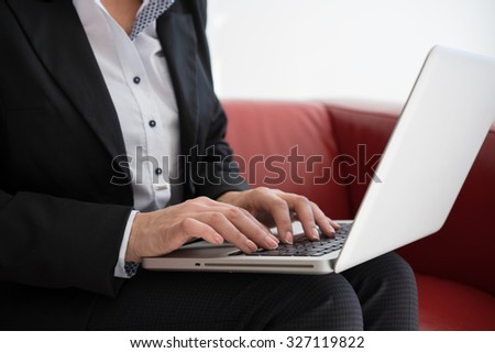 Close up of a woman hands working  - stock photo
