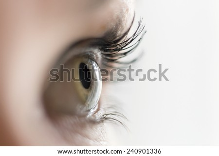 Close up of a woman's eye looking aside - stock photo