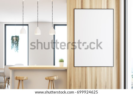 Close Wooden Kitchen Bar Framed Poster Stock Illustration 699924625 ...