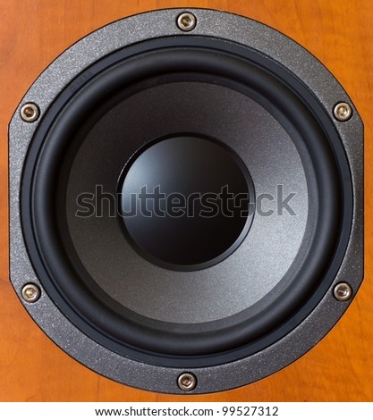 Close up of a wooden low tones speaker. - stock photo