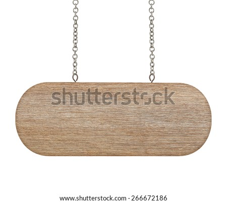 close up of a wooden sign with chain on white background - stock photo