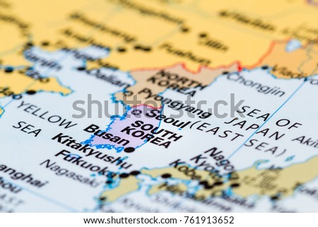 Close world map south korea focus stock photo royalty free close up of a world map with south korea in focus gumiabroncs Image collections