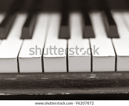 Close up of a worn piano - stock photo