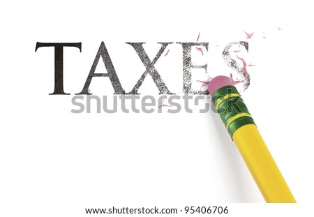 Close up of a yellow pencil erasing the word, 'Taxes.' Isolated on white.