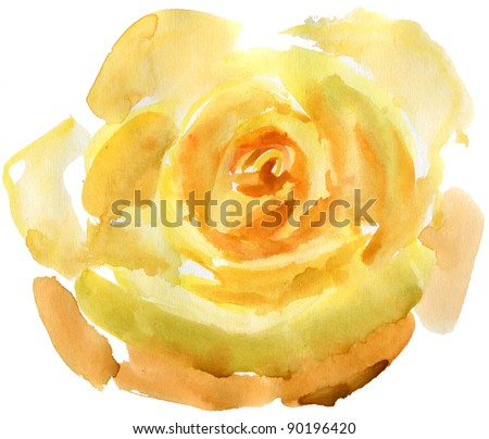 Close up of a yellow rose. watercolor - stock photo
