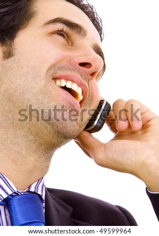 Close up of a young business man on the phone, isolated  isolated on white background