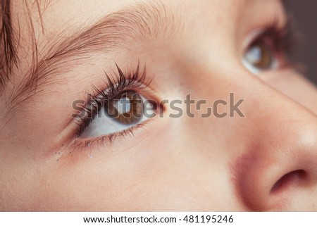 Close up of a young child's eyes